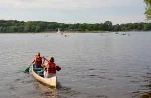 Starting the quarter mile paddle to the other side - photo by Michael Dwyer