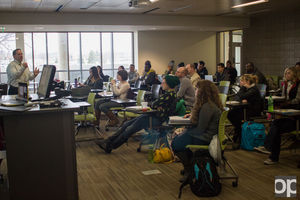 Mayor Barnett speaks to Oakland University's ethics in the media class about his letter to Madonna that went viral.  Photo by David Jackson