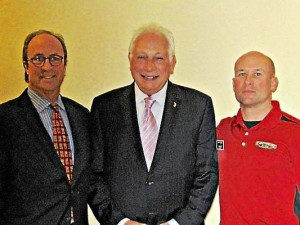 Mike Fezzey, president of Huntington National Bank Southeastern Michigan Region (from left) Paul W. Smith, WJR Radio host and Jeff Urbas, Firehouse Subs franchisee and Detroit Fire Sargeant. Submitted photo