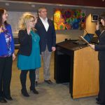 Michelle Bueltel, Sandra Fiaschetti, and Kevin Beers are sworn in by Judge Julie Nicholson