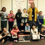 Students in Megan Stockman's class displays items they purchased through grant funding