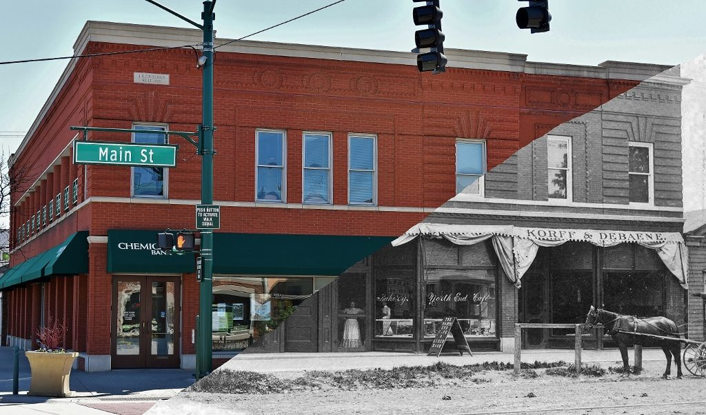 Crissman Building Overlay Image of a 1907 photo and a 2017 photo