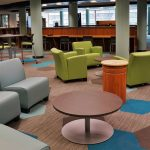 The media center at West Middle School provides an updated learning environment for students with enhanced technology and flexible seating