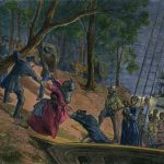 Illustrated picture of American History showing Africans getting off a boat