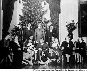 White House Christmas tree and Roosevelt family in 1942