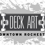 Deck Art Logo with the words Deck Art Downtown Rochester on the image of a skateboard