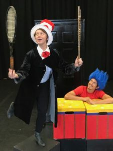 Photo of two young actors in The Cat in the Hat on stage in costume