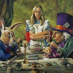 Painting showing March Hare, Alice, and the Mad Hatter having tea at the table outside in the forest