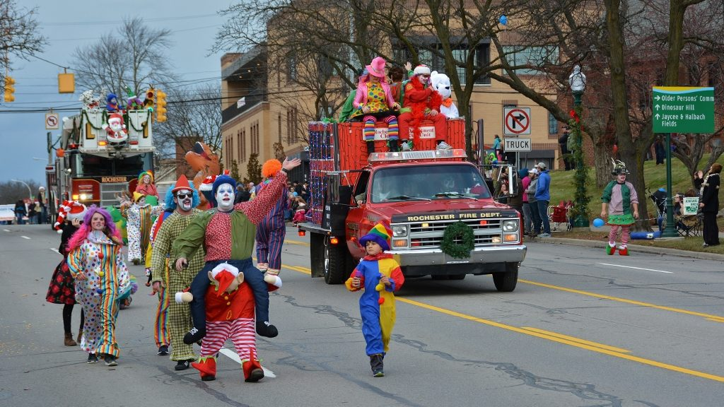 Rochester Fire Department clowning around in the 67th Annual Hometown Christmas Parade - photo by Michael Dwyer