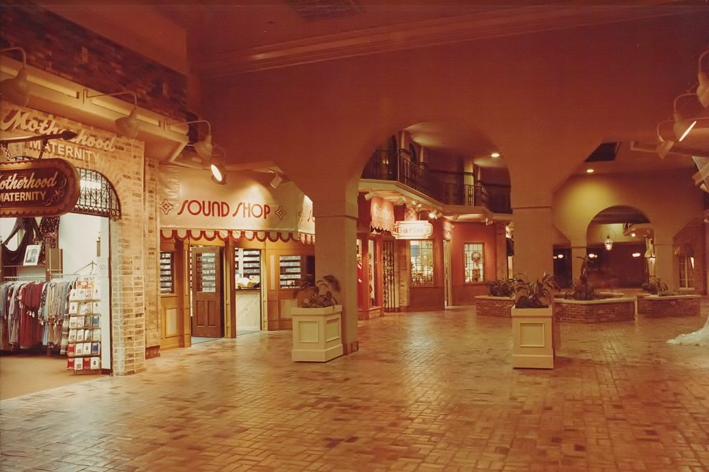 Brick floor and inside view of the mall