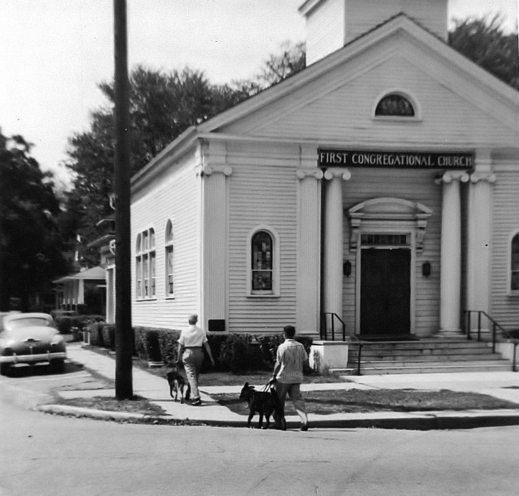 Leader Dogs training on Walnut Street in 1957 (Courtesy of Leader Dogs for the Blind)